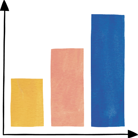Large illustration of colorful bar chart