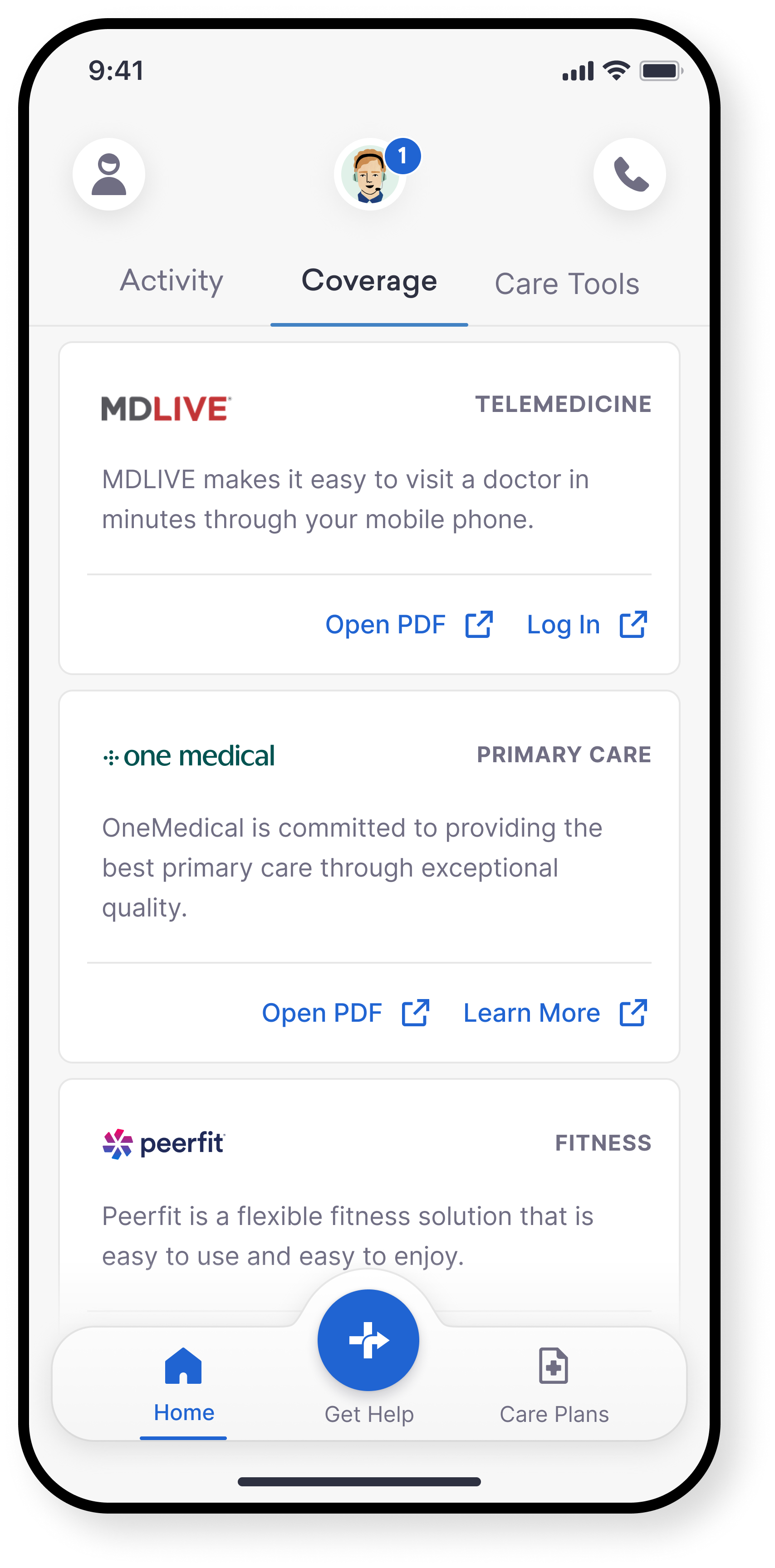 App preview image showing Care Plans screen
