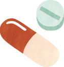 Illustration of capsule and round pill