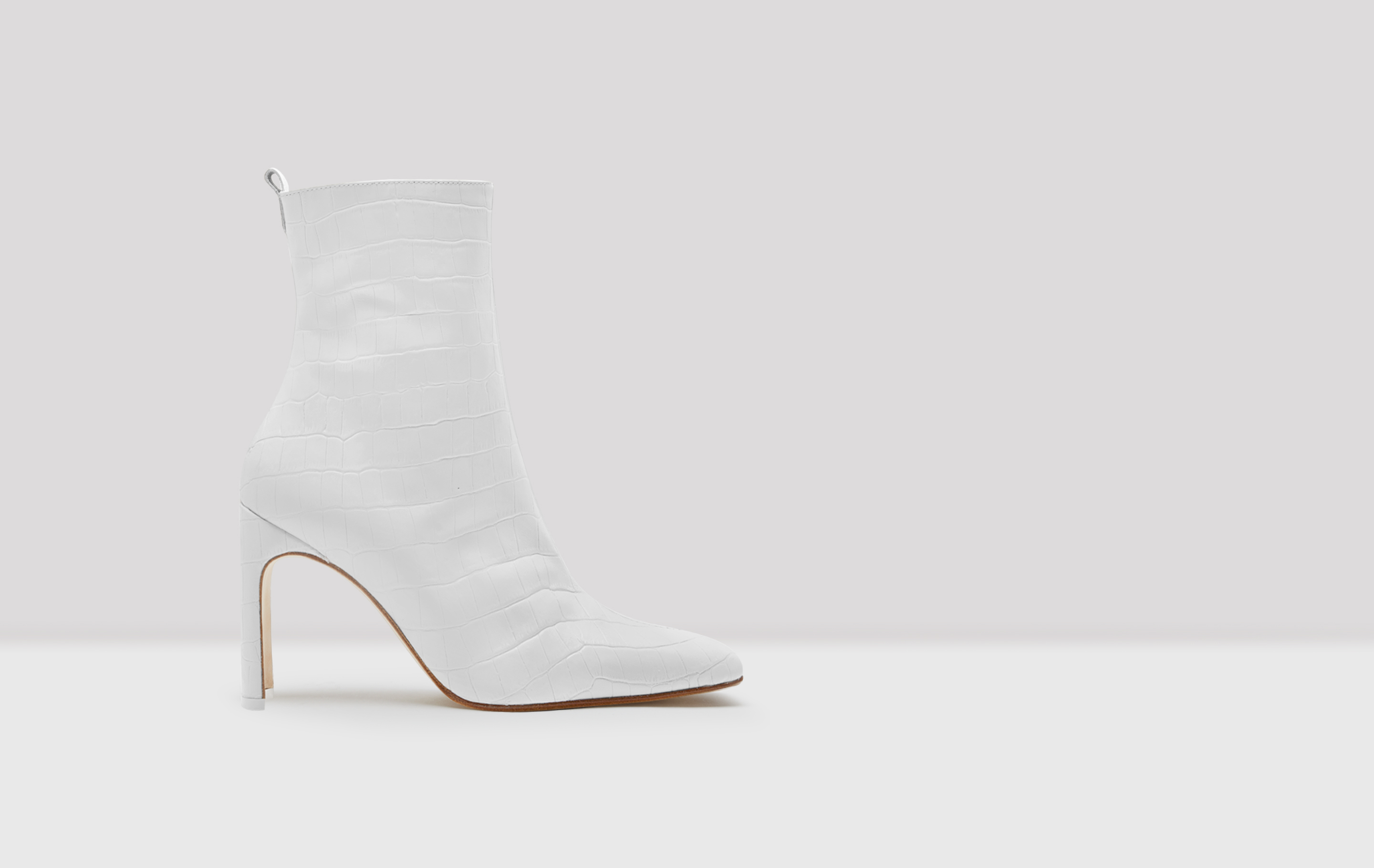 Marcelle White Croc Leather Boots
