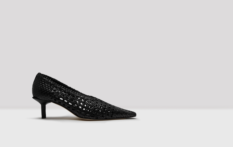Clelia Black Woven Leather Heels