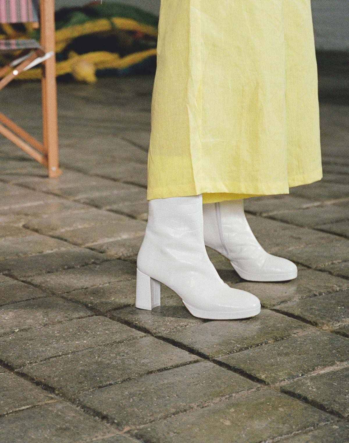 Carlota White Croc Leather Boots