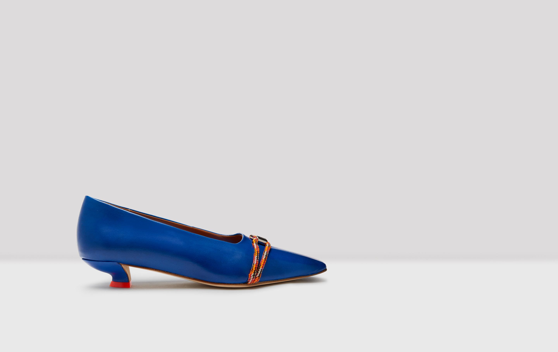 Alice Royal Blue Leather Mid-Heels