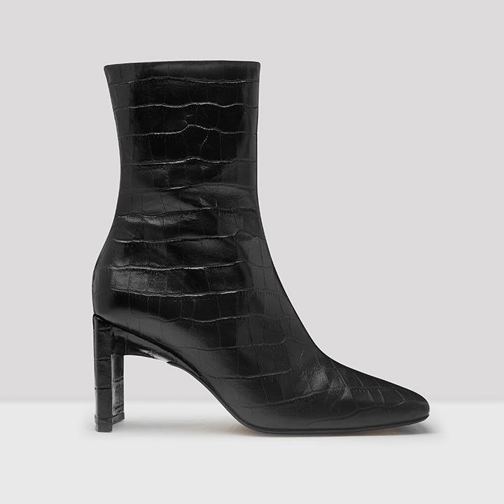 Ekatarina Black Croc Leather Boots