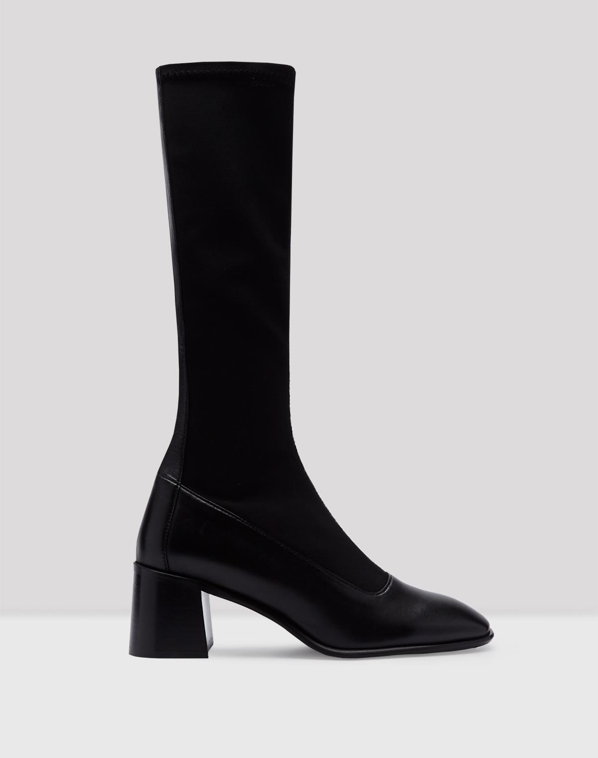 Alisa Black Stretch Leather Boots // E8