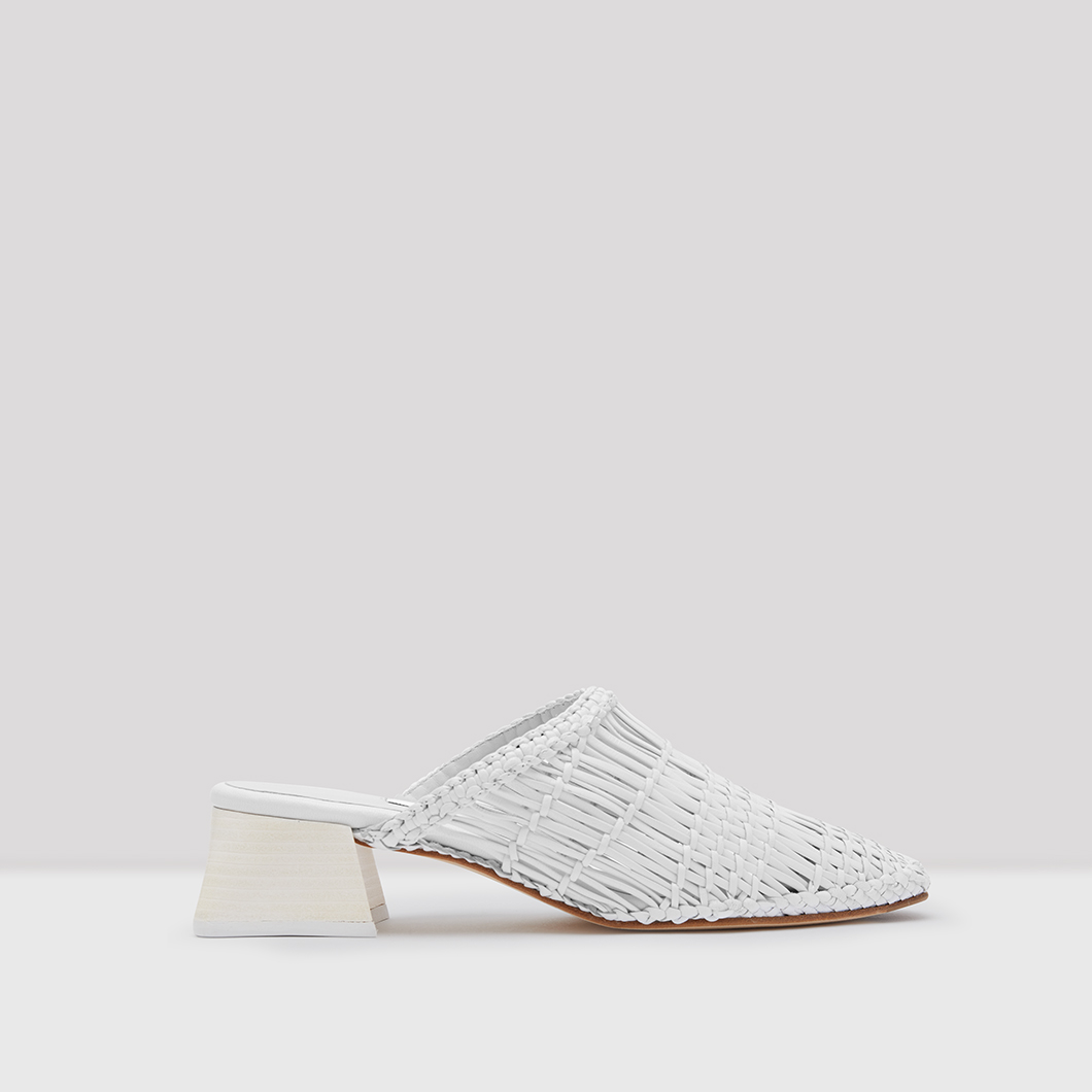 Araxie Off White Woven Leather Mules