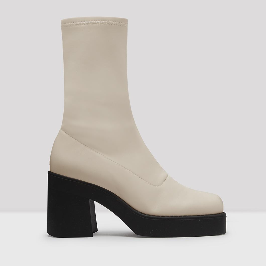 White Stretch Boots // E8 Shoes