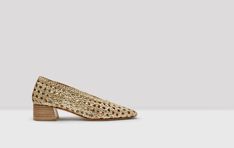 Taissa Gold Woven Leather Mid-Heels