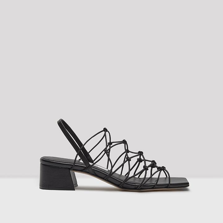plain black strappy heels