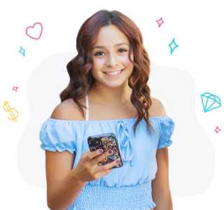 Girl holding phone