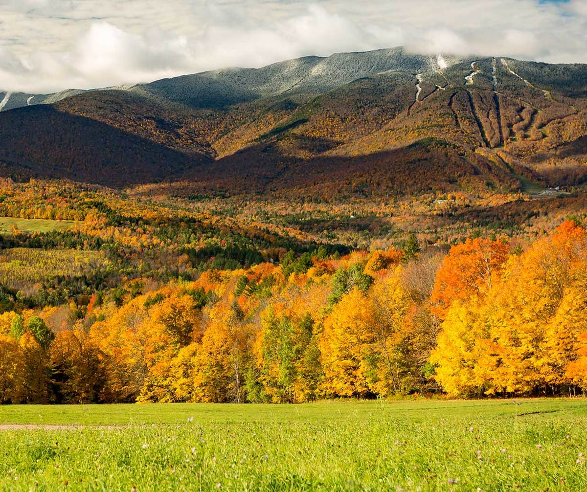 Fall foliage turns into snow covered runs at Sugarbush, VT