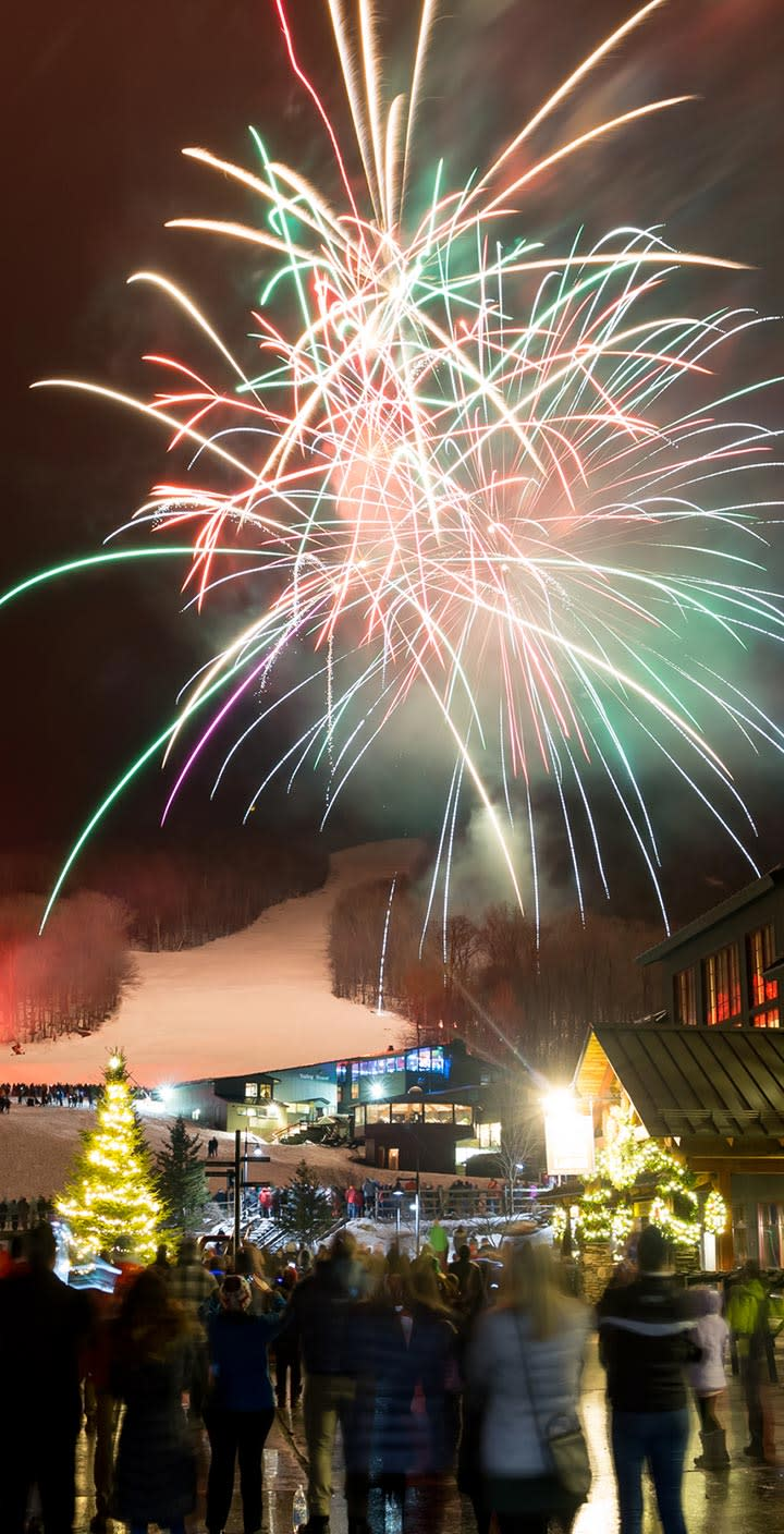 New Year's fireworks display at Sugarbush, VT