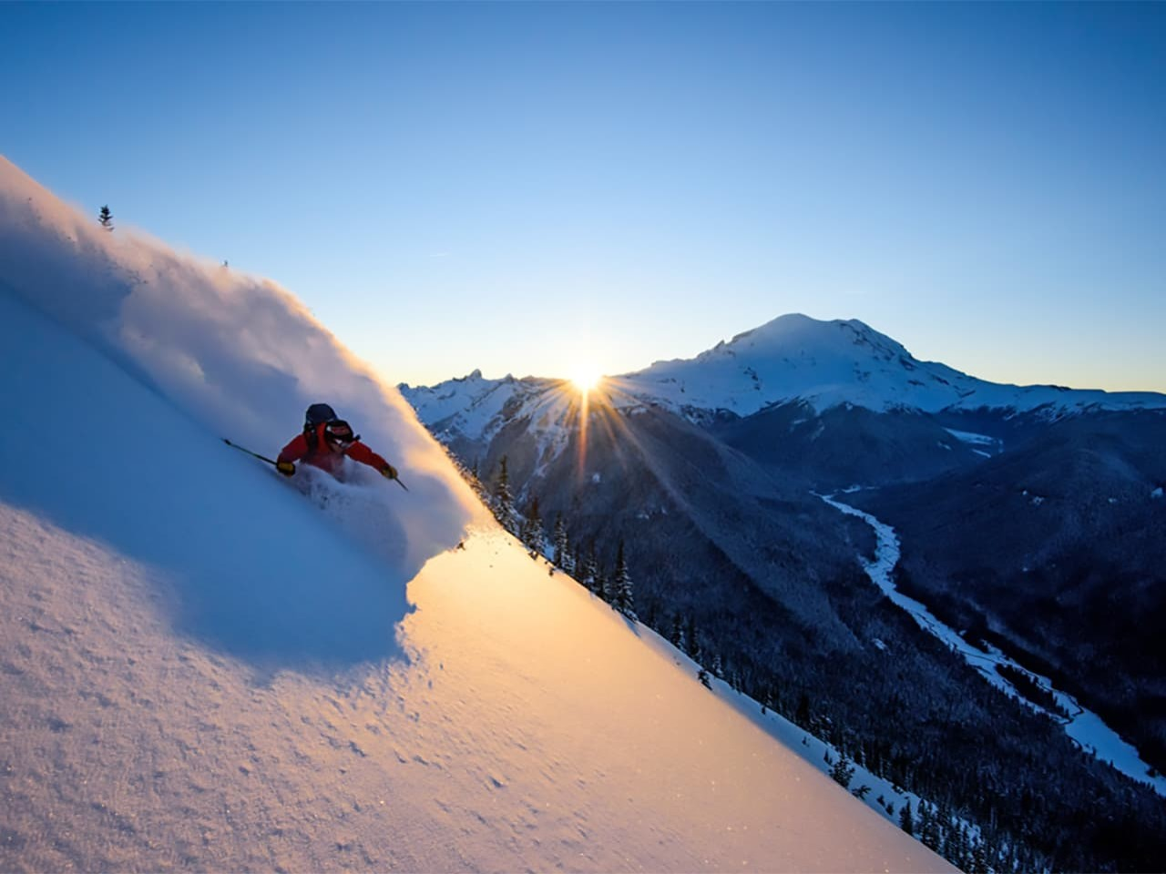 Crystal Mountain powder sunset
