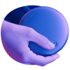 Hand holding Magic Leap One's Lightpack device lit by neon lights in a sphere
