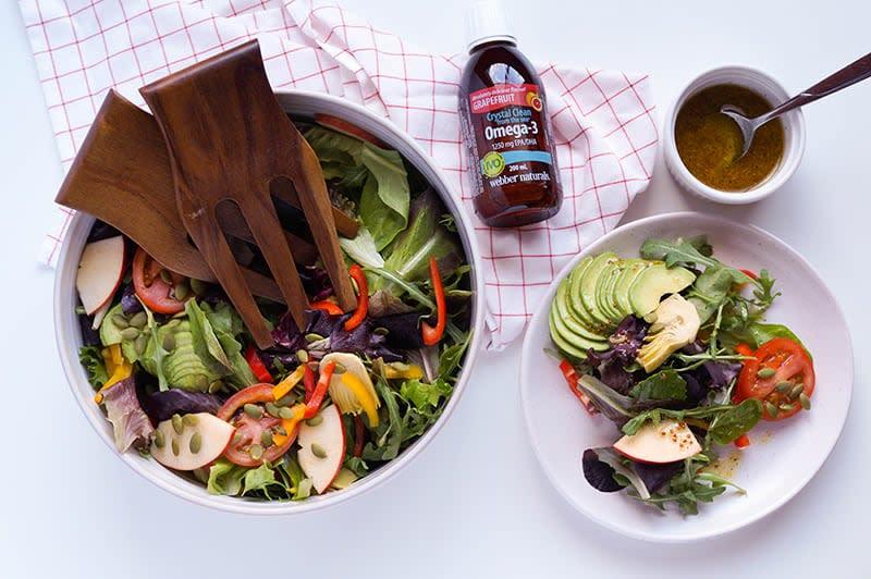 Recette de salade verte d'oméga-3 pour la santé du coeur