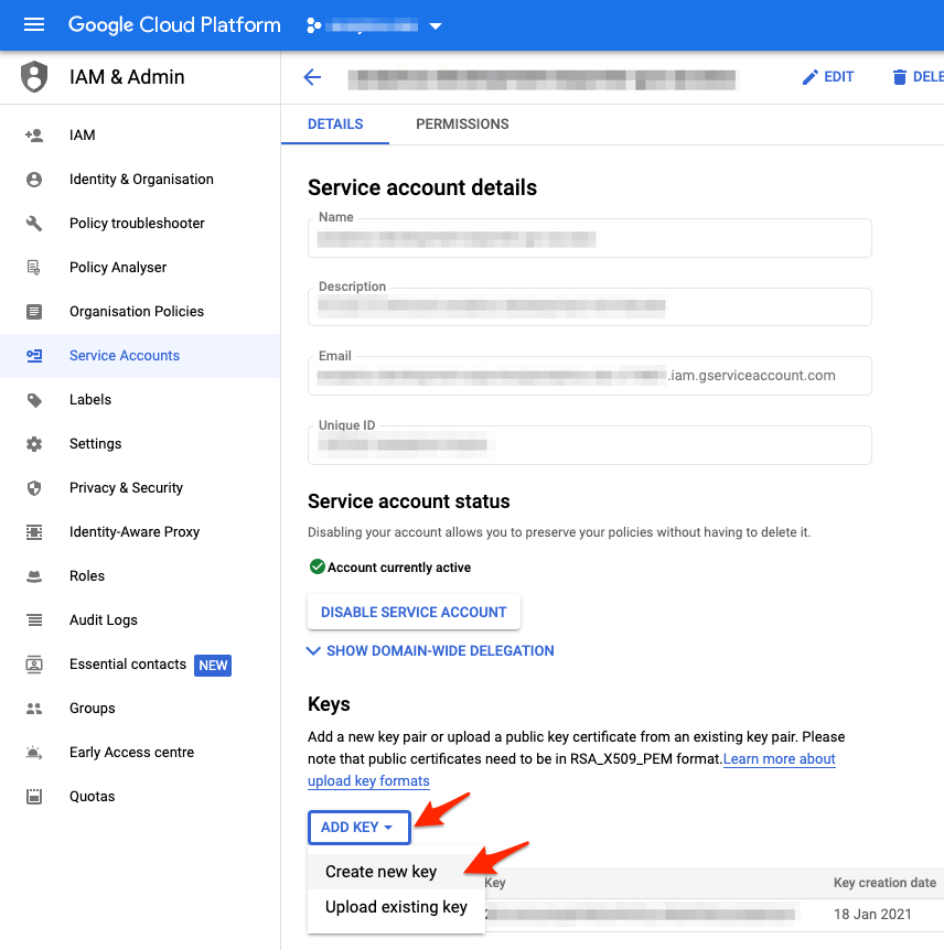 How to download GCP Service Account Credentials