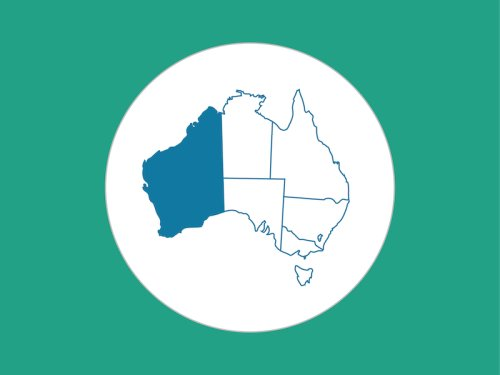 green background, white circle, map of Australia in the center highlighting WA in blue
