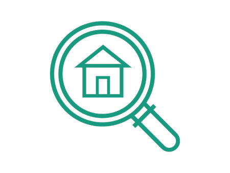 Housing Seeker icon, magnifying glass with a house icon in the center, green outline on white background