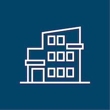 icon of an apartment building, white outline, blue background