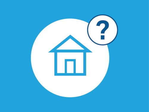 Blue background with house icon in blue centred in white, question mark in dark blue also in a white circle in the top right corner