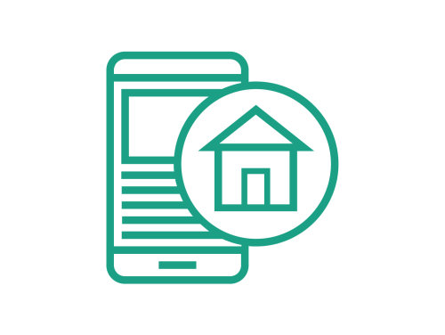 Housing provider icon, a mobile device and a house in a circle