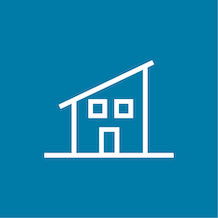 icon of a granny flat, white outline, light blue background