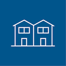 icon of a duplex or villa, white outline on blue background