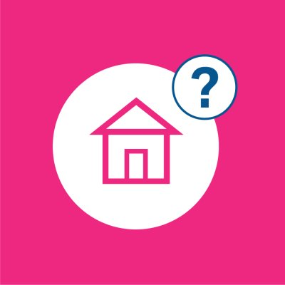 pink background with house icon and question mark in white circles