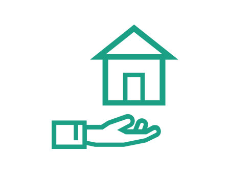 support icon, hand holding up a house, icons have a green outline on a white background