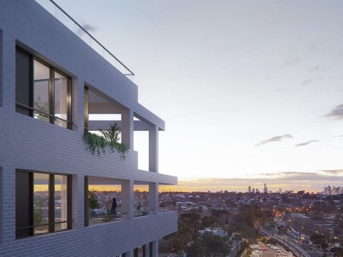 Artist impression of Glen Iris apartment building and view of surrounding suburbs