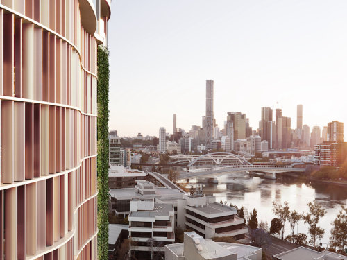 artist impression of the Ambrose apartment building and city view