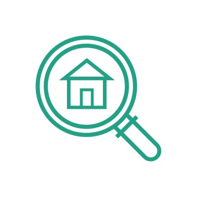 housing seeker icon in green outline, white background