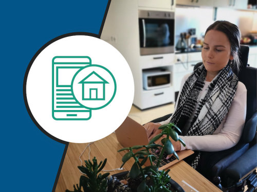 Picture of someone using a laptop, housing provider icon in green on a white circle