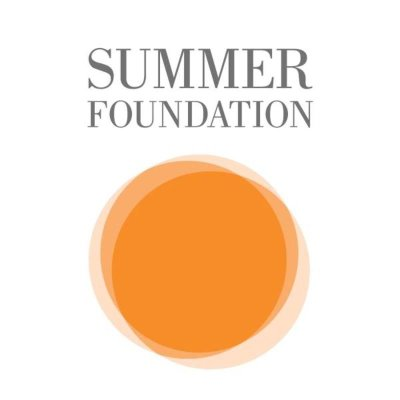 Summer Foundation logo, three golden circles that overlap with the text Summer Foundation on a white background
