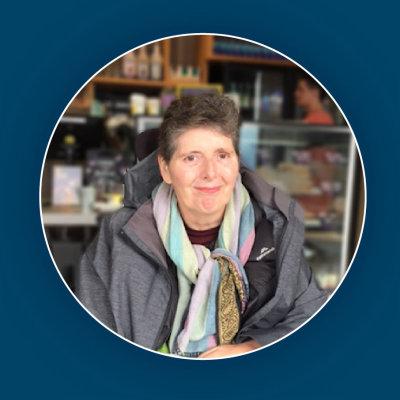 Helen in a cafe