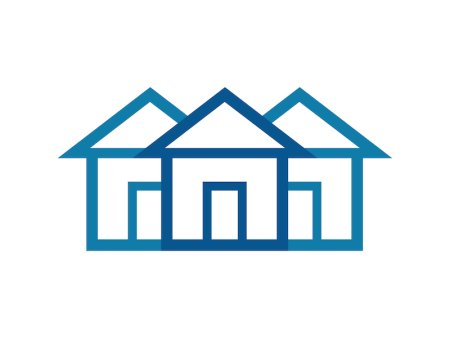 three overlapping house icons, two light blue and one dark blue