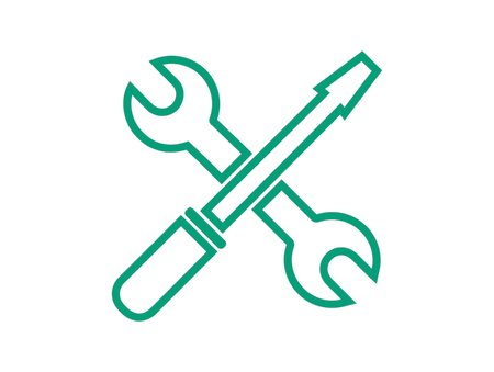 Troubleshoot icon, spanner and a screwdriver, green outlines on a white background