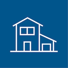 icon of a house, white outline, blue background