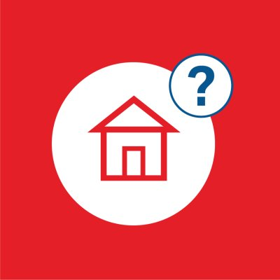 red background with house icon and question mark in white circles