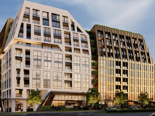 Facade render of modern apartment building