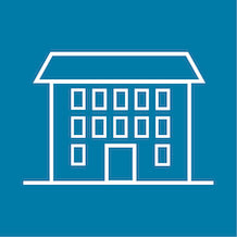 icon of  a boarding house, light blue background and white outline