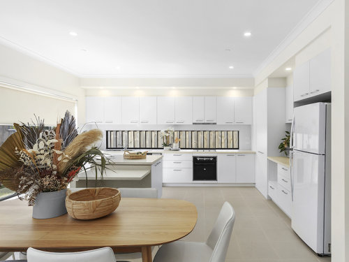 Spacious dining room and open plan kitchen.