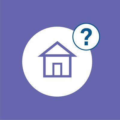 blue background with house icon and question mark in white circles