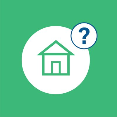 green background with house icon and question mark in white circles