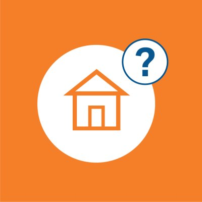 orange background with house icon and question mark in white circles