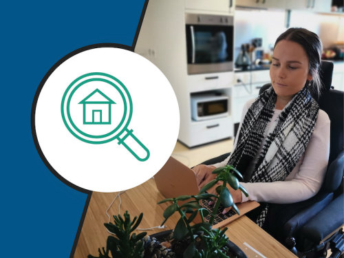 picture of a person using a computer, housing seeker icon in green on a white circle