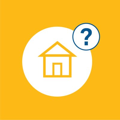 house icon in yellow in a white circle with a blue question mark in the top right corner, yellow background also