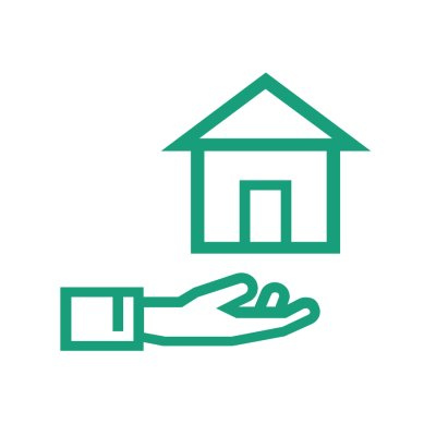 hand icon holding up a house, green outline, white background