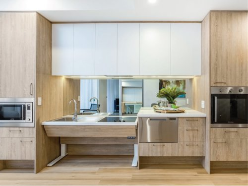 Image of an accessible kitchen in the Penrith apartments