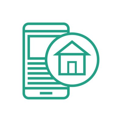 Housing provider icon in green outline with a white background